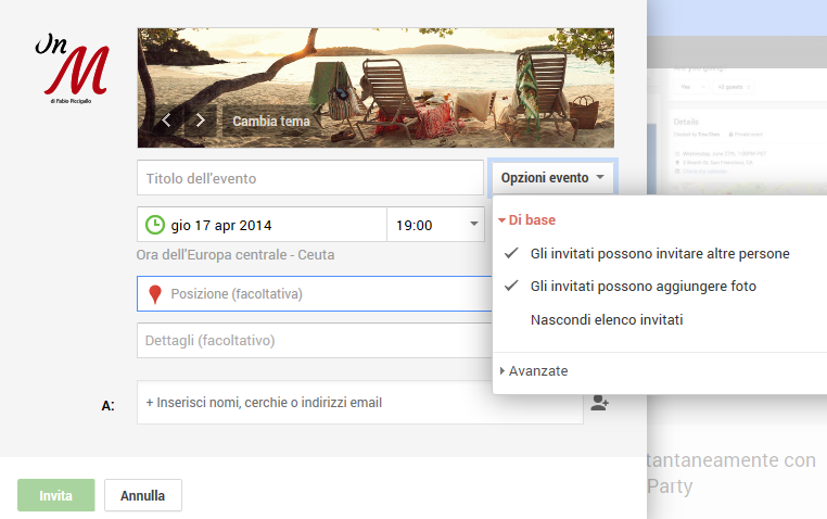 Google+ come creare un evento