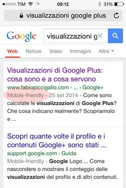google mobile friendly visualizzato nella serp