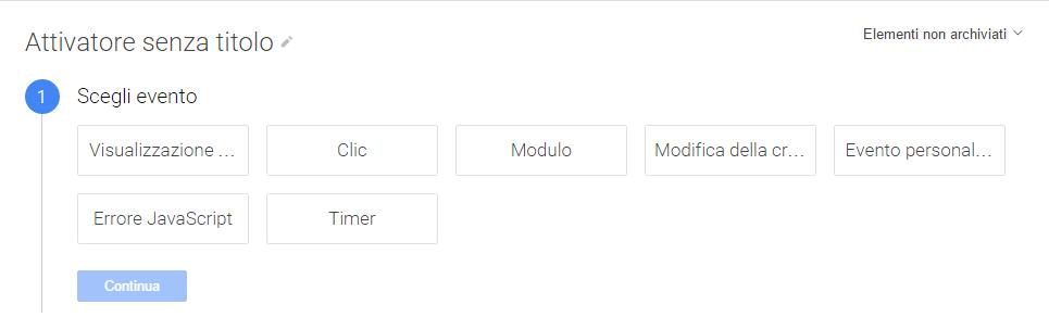 Google Tag manager attivatori