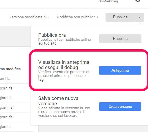 Google Tag Manager visualizzazione anteprima