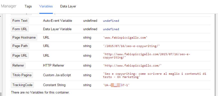 GTM anteprima data layer