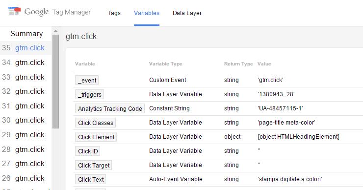 google tag manager anteprima scheda variabili