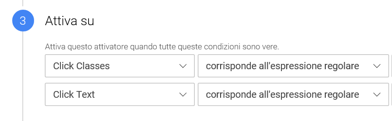 google tag manager corrisponde espressione regolare