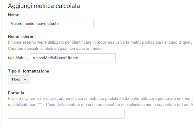 metriche calcolate analytics
