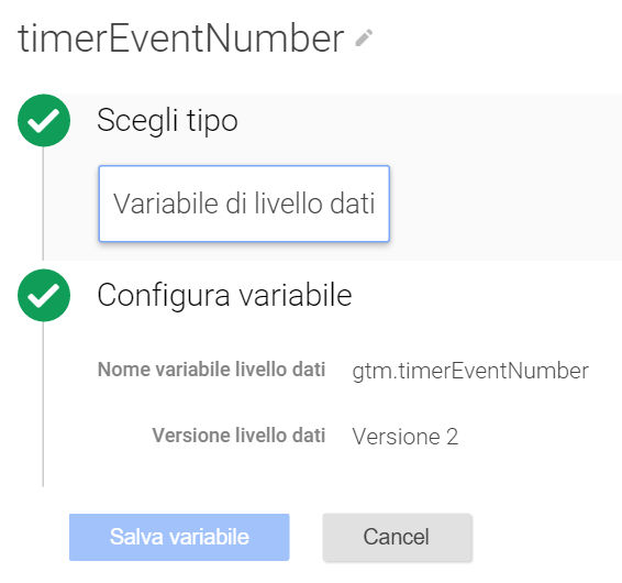 variabile livello dati data layer google tag manager