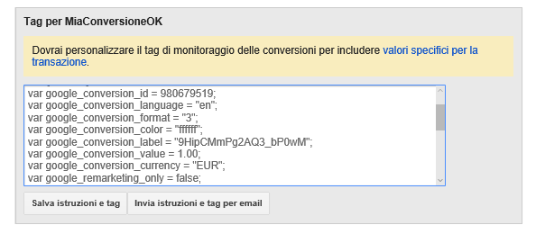 google tag manager conversioni adwords