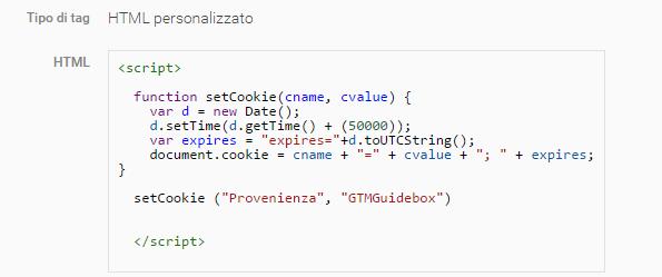 GTM html personalizzato