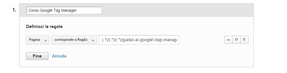 google analytics raggruppamento contenuti