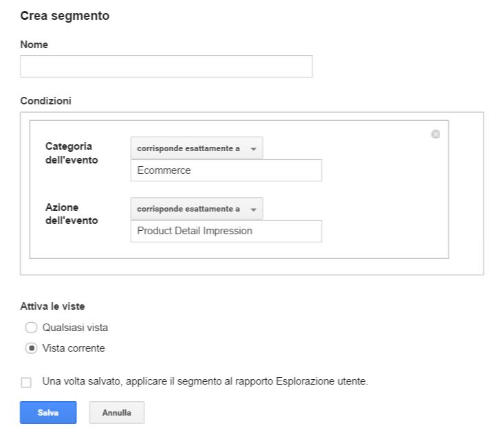 Il report Esplorazione Utente in Google Analytics segmenti
