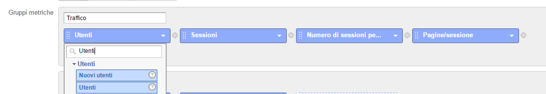 report personalizzati google analytics scelta metriche