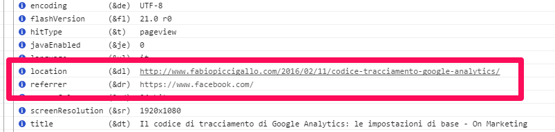 analytics dati con referrer